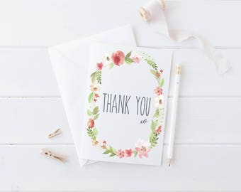 THANK YOU CARD | Wedding Thank You Card |Thank you note card | Watercolour Thank You card | Botanical Thank You card | Floral Wreath | Boho
