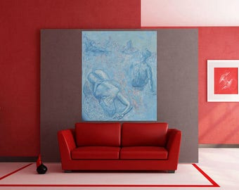 Sky Blue Abstract Oil Painting Wall Hanging Large Canvas Contemporary OOAK Gallery Art Love Wedding Gift Cristmass Adam Eve Modern Interior