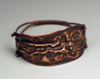 Copper Air-Chased Hammered Cuff Bracelet with Wire Back