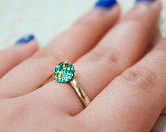 Computer Circuit Board Gold Ring with Pave Detail -- Minimalist Geometric