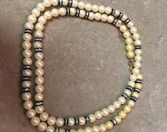 Vintage faux pearl long necklace
