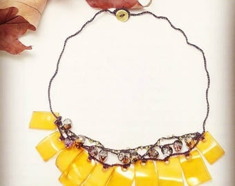 concise yarn necklace beads and pendants in shades of Orange, yellow and bronze/necklace