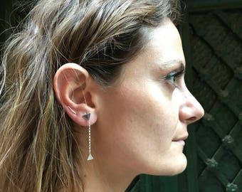 Triangles stud earrings, Dangle & Drop, Silver earrings double triangle pendant, Silver earrings large triangles, Minimal earrings,
