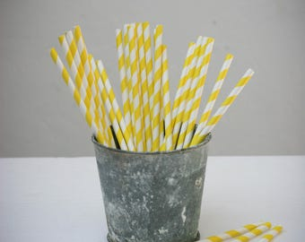 25 paper straws paper (white with yellow stripes)