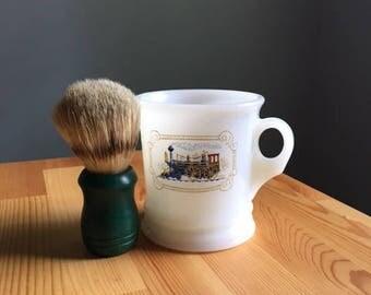 Vintage Avon White Milk Glass Iron Horse Train Locomotive Shaving Mug & Barber Shop Brush Bottle
