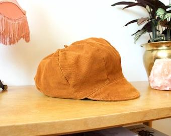Vintage Tan Corduroy Hat // Cap // Baker Boy Hat // Newsboy Hat // Mustard Brown // Medium
