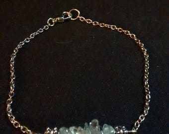 Aquamarine and silver chain bracelet