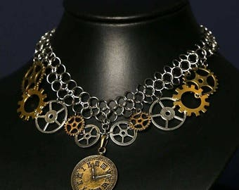 steampunk clock chainmail necklace