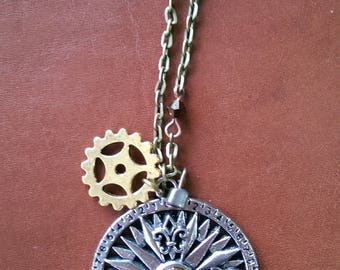Steampunk Australian made charm necklace compus gold cog beads long chain industrial brass industrial unique handmade pendants