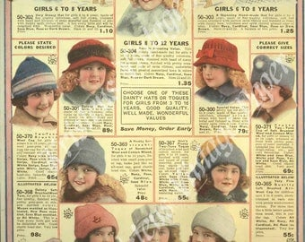 INSTANT DOWNLOAD - Girls Dainty Hats - Victorian - Fashion - Catalog Page - Vintage - Printable - Crafting - Scrapbooking - Digital Image