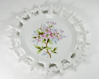 Vintage Wall Plaque, Pink Apple Blossoms, Kelvin Fine China, Wall Art, Home Decor