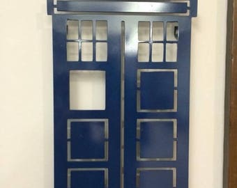 Blue Phonebooth-metal wall hanging