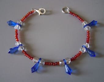 Fairy ethnic bracelet beads and drops, marine fairy oriental jewelry, pearl drops blue, red and translucent beads.