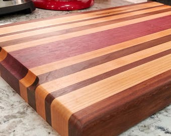 Maple, Walnut, Purpleheart and Granadillo cutting board