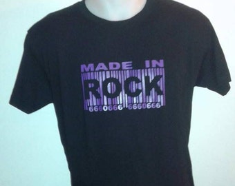 T-shirt Rock code bar 666 black purple marking