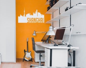 Shanghai Skyline Silhouette Decal
