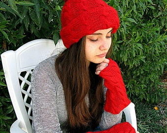 Red set women knitted tassel hat and gloves without fingers/leggings