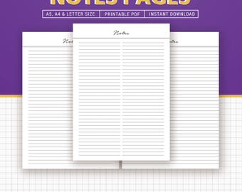 Notes Printable, Lined Notes Inserts, Notepad, Notebook, A4, Letter, Filofax A5, Kikki K Large, Instant Download
