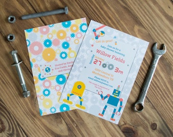 Robot Baby Shower Invitations   Retro Robot Invitations   Gears Pattern   Printed or Printable   Gold and Blue