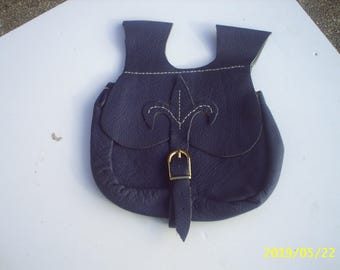 Medieval style Belt pouch in blue leather