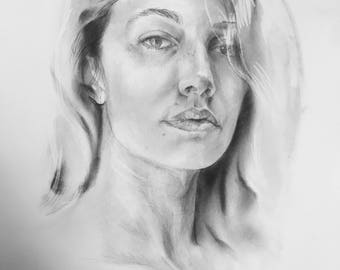 "Wedding Portraits, Custom Portraits, Hand-Drawn Graphite Portraits, Wedding Gifts, 24""x18"""