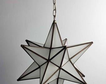 Moravian Star of Bethlehem Lamp Frosted Glass & Aged Bronze Metal Tin Pendant Light - 20 INCH
