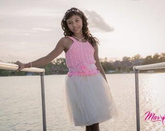 pink crochet tutu dress, beige tutu dress, tutu girl dress, handmade crochet dress