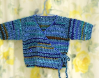 Baby Wrap Cardigan Size 3 months blues/greens
