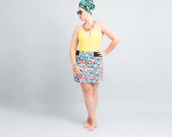 bell skirt, stretchy skirt, wide waistband skirt, jungle skirt, tropical plus size, tropical skirt, floral skirt fabric, midi skirt women