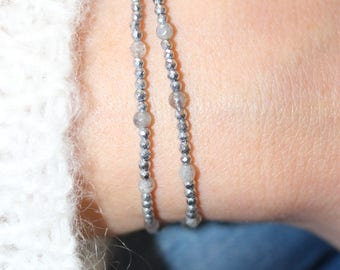 Dainty double bracelet in hematite, labradorite and Silver 925/1000