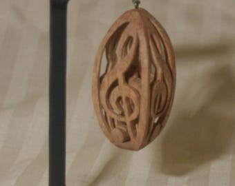 """Hand carved wood, """"G"""" clef, 3 dimensional, in walnut, oak, maple, musical gift, music teacher gift,"""