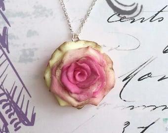 Pink rose pendant etsy shabby chic rose pendant shabby chic necklace pink rose pendant shabby chic pendant audiocablefo light ideas