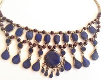 Lapiz lazuli kuchi tribal necklace#Lapis  Bib Necklace#Cassidy Bib Necklace#Afghan Kuchi Necklace#Ethnic Jewelry#Boho Gypsy Necklace