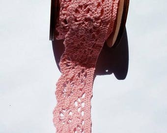 1 m of Ribbon/trim lace polyester pink width 30 mm