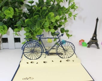 Handmade 3D pop up card vintage blue bicycle birthday father's day mother's day Easter school enrolment graduation wedding anniversary him