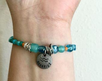 Aquarius Elastic Beaded Bracelet WOMENS Beaded Zodiac Bracelet