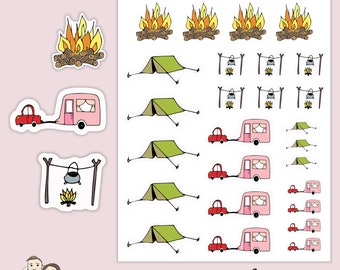 CAMPING CARAVAN HOLIDAY Planner Stickers/ Happy planner/ Eclp/ Erin Condren life/ functional stickers/ scrapbooking/ Kikki K/ Filofax/ S113