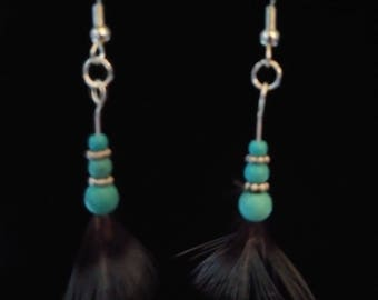Pheasant Feather and Turquoise Earring