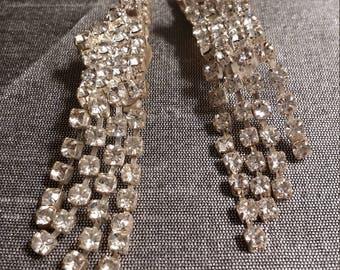 Dazzling Dangle vintage Rhinestone Clip Earrings