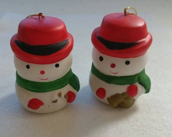 Vintage Snowman Figurines Christmas Ornaments Hanukkah Winter Collectibles Altered Repurposed Art Home Decor