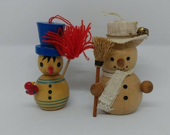 Vintage Christmas Snowman Wooden Kitsch Ornaments Hanukkah Winter Collectible Mixed Media Altered Repurposed Art Home Decor
