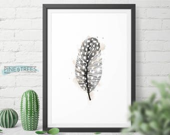 Feather Wall Art Print, Modern Decor, Printable Poster, Instant Digital Download