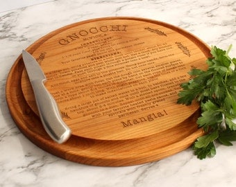 Engraved Wood Cutting Board,Italian Gnocchi Recipe,Wedding Gift,Bridal gift,Anniversary Gift,Engagement Gift,Mother's Day Gift