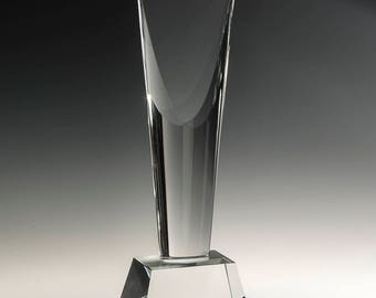 "Crystal Argyle Engraved Recognition Award 3 1/8""W x 9 1/2""H"