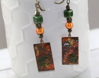Orgy of fire, earrings beads and enameled copper