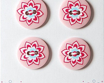 4 liberty style plastic buttons button sewing flower pink flower - set of 4 buttons 18 mm rose - pink on pink background