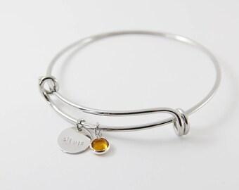 Personalized Bangle Bracelet | Birthstone Bangle | Initial Bangle | Kids Name Bangle | Birthday Gift | Mom's Bracelet | Mother's Bangle