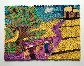 Vietnamese Farm Scene:Handmade Quilling Art Gift with Frame-Wall Art Picture-House Warming Gift-Special Scene Design-Gift For Occasions