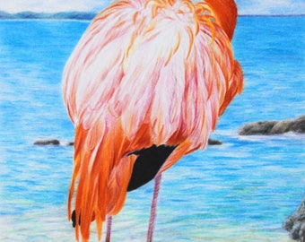 Flamingo print, limited edition, hand signed fine art giclee print - 'Another Day in Paradise'