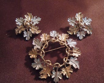 "Vintage Sarah Coventry Oak Leaf ""Garland"" Pin and Clip Earring Set"
